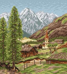 Villange in mountains Cross Stitch Landscape, Black Art Pictures, Simple Cross Stitch, Close Image, Mountain View, Cross Stitching, Needlepoint, Hand Embroidery, Needlework