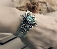 Lady of the Ocean Aged Silver and Swarovski Cuff - Blue - Aqua - Silver - Victorian - Fantasy - Water - Summer - Bridal