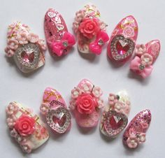 3D deco nails Rose Valentine  rose and heart hime by Revontuletar, $27.00