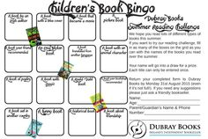 Childrens Book Bingo form, great idea from @DubrayBooks