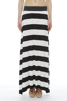 Comfortable and impressive long skirt viscose thanks to broad stripes and ends the sideParticular detail the wide waistband Wide Stripes, Spring Summer 2015, Spring Summer Fashion, Black And White, Detail, Skirts, Modern, Shopping, Skirt