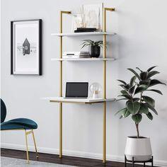 Desk Shelves, Wood Shelves, Shelf Wall, Ladder Desk, Leaning Ladder, Leaning Desk, Leaning Shelves, Ladder Bookcase, Bookcases