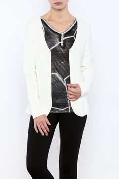 Beautiful winter white v-neck sweater with tons of detail on the front bodice and the sleeve. Front zip. Hip length.  Winter White Sweater by Katherine Barclay. Clothing - Sweaters - Cardigans Iowa