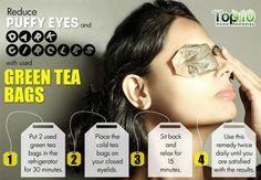 green tea bags on eyes