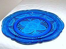 """Depression Glass - Hazel Atlas - Royal Lace - Cobalt Dinner Plate 10"""" - Set of 7"""