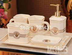 Classic europe luxury royal design ceramic bathroom sets toothbrush cup lotion bottle soap dish