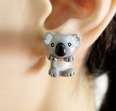 Cute Fat Koala Bear Clinging Earring, Two Part earring, Fake Gauge, Polymer Clay Earring