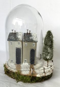 Snow Globe, Snow Globe House, Snow Globe Ornament, Christmas Snow Globe, Christmas Ornament, Winter Scene, Little Houses, Wooden cottages