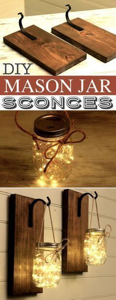 DIY Mason Jar Sconces -- A lot of DIY mason jar crafts, ideas and projects here! Some really great home decor and gift ideas. Listotic.com #EverydayArtsandCrafts #Greatdiyhomedecor