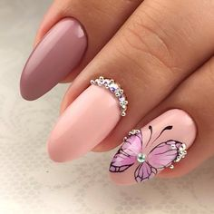 951 Likes, 2 Comments - Nail art ideas ( . Butterfly Nail Designs, Butterfly Nail Art, Acrylic Nail Designs, Nail Art Designs, Gel Nail Art, Nail Manicure, Bling Nails, Fun Nails, Hello Nails