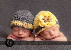 Baby Twins Hats Newborn 0 3m 6m Boys Girls Crochet Beanie Choice of Colors Photo Prop Perfect Year Round Hospital Gift for Baby on Etsy, $64.95