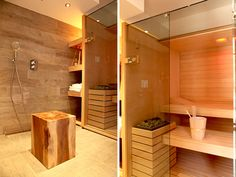 Sauna built into the shower room Home Spa Room, Spa Rooms, Sauna Hammam, Sauna Steam Room, Kitchen Office, Sweet Home, Cottage, House Design, Grizzly Peak