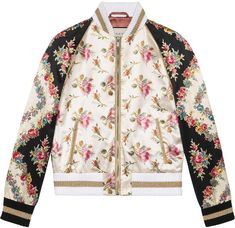 eac7bdf358b Gucci Rose print silk bomber jacket. BomberjacksBedrukte JasAlledaagse  LookChique KledingSweatshirtsJasjesWinterCapuchonsRegenjassen