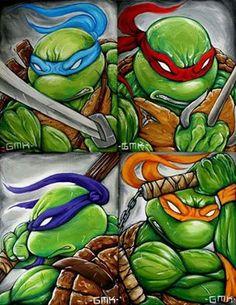 Facebook Ninja Turtles Art, Ninja Turtle Drawing, Ninja Turtle Room, Ninga Turtles, Teenage Mutant Ninja Turtles, Ninja Turtles Cartoon, Marvel, Turtle Party, Caricatures