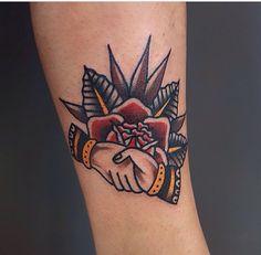 Traditional handshake tattoo #traditonal #tattoo #rose