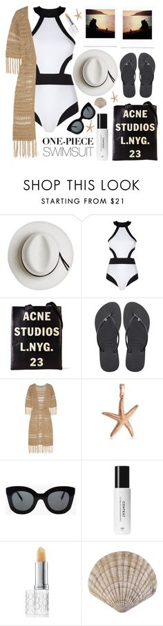 """chic in one-piece"" by karineminzonwilson ❤ liked on Polyvore featuring Calypso Private Label, Oye Swimwear, Acne Studios, Havaianas, Melissa Odabash, Bling Jewelry, Polaroid, CÉLINE, Elizabeth Arden and onepieceswimsuit"