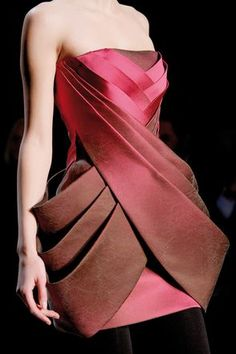 Sculptural Fashion - two tone structured dress with 3D layers and drape detail