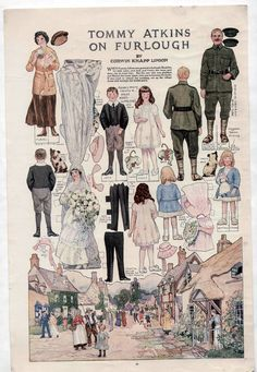 Vintage TOMMY ATKINS ON FURLOUGH Delineator Mag Paper Dolls Page 1918 WWI uncut | eBay