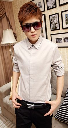 New Style Long Sleeve Small Collar Pure Color Light Grey Cotton Dress Shirt M/L/XL/XXL @200SJ01010lg