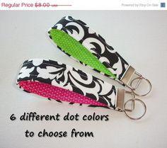 SALE  Key FOB / KeyChain / Wristlet key strap   black by Laa766  preppy / fabric / cute / patterns / key chain / keychain / badge / key leash / gifts / personalized / designer / car / school / key ring