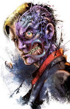 Two-Face Portrait by Vincent Vernacatola - Batman Comics Art City Villain Gotham Villains, Comic Villains, Evil Villains, Deux Faces, Two Faces, Marvel Dc, Nananana Batman, Al Ghul, Hq Dc