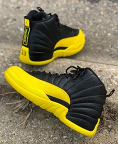 Shop Men's Jordan Black Yellow size Sneakers at a discounted price at Poshmark. Air Jordan Sneakers, Nike Air Shoes, Cute Jordans, Air Jordans, Jordans Girls, Jordans For Men, Jordan Shoes Girls, Girls Shoes, Michael Jordan Shoes