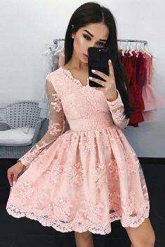 A-Line V-Neck Dresses,Long Sleeves Dresses,Short Homecoming Dresses,Pink Lace Homecoming Dresses