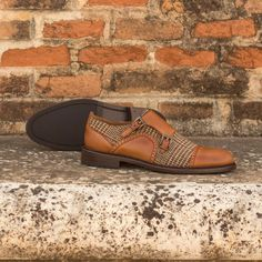 Handcrafted Custom Made Women's Double Monks in Cognac Polished Calf Leather with Tweed From Robert August. Create your own custom designed shoes. Custom Made Shoes, Custom Design Shoes, Hot Shoes, Women's Shoes, Dress Shoes, Calf Leather, Designer Shoes, Me Too Shoes, Tweed