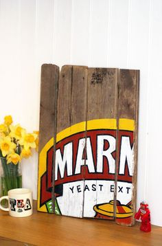 Marmite art - want! Pallet Painting, Pallet Art, Diy Pallet Projects, Love Painting, Woodworking Projects, Painted Signs, Wooden Signs, Personalised Gifts Uk, Painted Driftwood