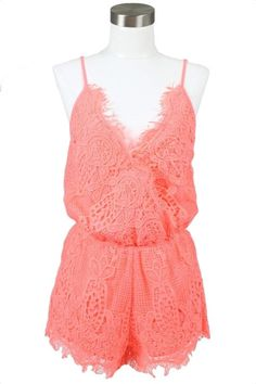 NWOT Neon Coral Crochet Lace Romper Your Keepsake Crochet Lace Romper - Neon Coral. Size M. Totally adorable & a perfect addition to any wardrobe. Your Keepsake Dresses Boho Fashion Indie, Spring Summer Fashion, Summer Chic, Summer Wear, Summer Outfits, Boutique Fashion, Lace Romper, Crochet Lace, Dress To Impress