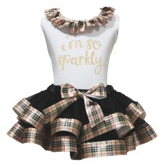 "I'm so Sparkle Gold Plaids White Shirt Black Petal Skirt Girl Outfit Dress 1-8y (4-5year). a shirt, a skirt. made by lightweight material. stretchy and comfortable cotton shirt. 4-layers fantastic petal skirt. outfit in ""I'm so Sparkle"" design, suggest for birthday or party wear."