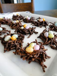 Chocolate Egg Nests. Perfect for Easter and Spring! Easy snack to make with the kids!