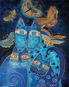 Laurel Burch (American: 1945-2007) - Blue Cats with Butterflies