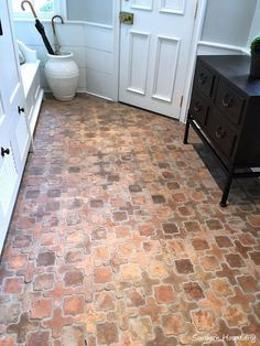 Home Decorators Collection Blinds Code: 5828672647 Brick Flooring, Kitchen Flooring, Floors, Flooring Ideas, Aberdeen, Home Renovation, Home Remodeling, Eclectic Bathroom, Modern Bathroom