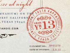 "Snippet of the ""vintage medical doc."" graduation invite by Chad Michael"