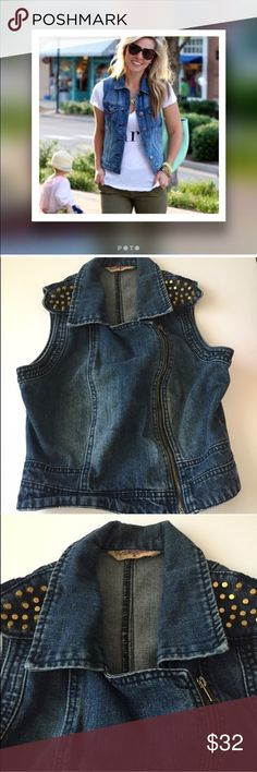 Studded Denim Vest Bloggers favorite wardrobe piece, this is a must have to add to your wardrobe! It's literally amazing with everything - dresses, tees, denim on denim, skirts , so versatile it's that piece you can rock all year long. Size M. (Jrs size) detailed in studs on the top of shoulders and zips in the front. Modeled pic is just for styling inspiration, actual vest for sale pics 2-4 Jackets & Coats Jean Jackets