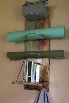 Yoga Mat - Yoga Mat Storage Shelf - yoga, yoga supplies, yoga storage, yoga mat, book… Now You Can Build ANY Shed In A Weekend Even If You've Zero Woodworking Experience! Yoga Meditation, Meditation Corner, Meditation Space, Meditation Supplies, Yoga Supplies, Home Yoga Room, Zen Room, Yoga Rooms, Yoga Room Decor