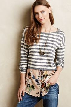 Saturday/Sunday Layered Stripes Sweater #anthrofave
