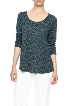Long sleeve printed top with a scoop neckline.