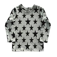 grey star print long sleeve t-shirt, boyst-shirt, boys long sleeve t-shirt