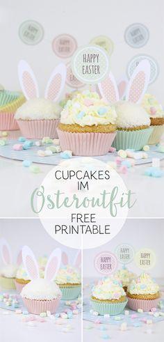 DIY - Süße Oster-Vorlagen zum Verzieren von Cupcakes. Free printable und Anleitung.