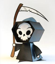 3D Halloween Template printable Grim Reaper at Urban Threads @printabledecor1 #Halloween #DIY #PaperCrafts