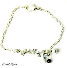Flower on a Branch Chain Bracelet with Black and by LoveMyssa