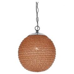"""Handmade ball pendant in orange with an eco-friendly textured shade. Inspired by Angelo Surmelis.   Product: PendantConstruction Material: Recycled plasticColor: OrangeFeatures: HandmadeAccommodates: (1) 40 Watt Edison base bulb - not includedDimensions: 12.5"""" H x 10"""" DiameterCleaning and Care: Wipe with soft cloth"""