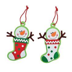Snowman Stocking Ornament Craft Kit - #OrientalTrading.com #ChristmasWishList