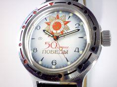 Vintage Wostok Jubilee mechanical watch from Soviet/Ussr. $40.00, via Etsy.