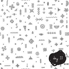 Vector seamless pattern with ethnic tribal boho trendy symbols and ornaments. Can be printed and used as wrapping paper, wallpaper, textile, fabric, etc. Mini Tattoos, 12 Tattoos, Boho Tattoos, Finger Tattoos, Body Art Tattoos, Small Tattoos, Tatoos, Ethnisches Tattoo, Tattoo Pied
