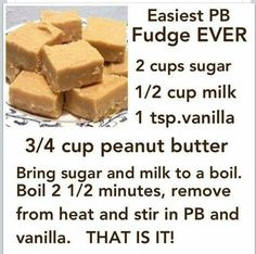 Peanut butter fudge recipe with 3 to 4 ingredients. Sugar, milk, vanilla, and peanut butter. Easy and simple. I will have to try with soy milk!