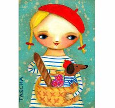 Dachshund in PARIS sweet wiener dog and girl folk art por tascha, $15.00