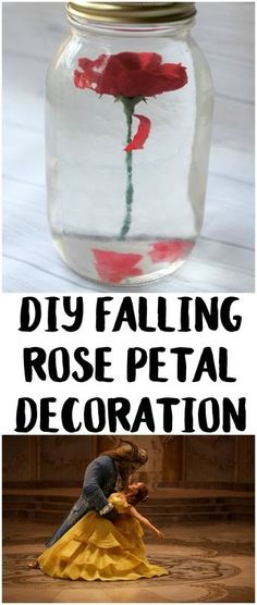Beauty and the Beast has always been my favorite Disney movie. It's responsible for many great quotes and has inspired some beautiful art- and it's back! To celebrate the live action release, I made this DIY Falling Rose Petal Decor that would be perfect for a wedding centerpiece or even just a fun bedroom decoration! You could even make a couple for a birthday party!